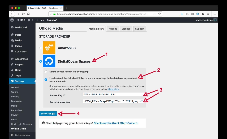 WP Offload Media Save DigitalOcean Keys In Database