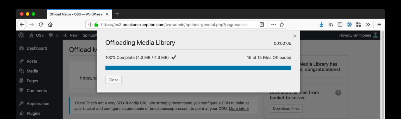 WP Offload Media Offload Complete - S3