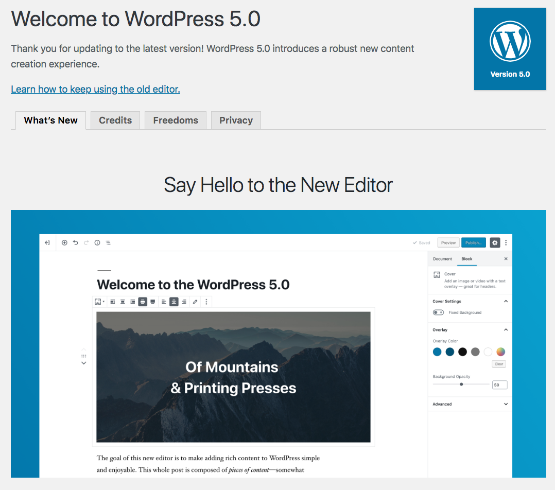 WordPress 5.0 upgrade page