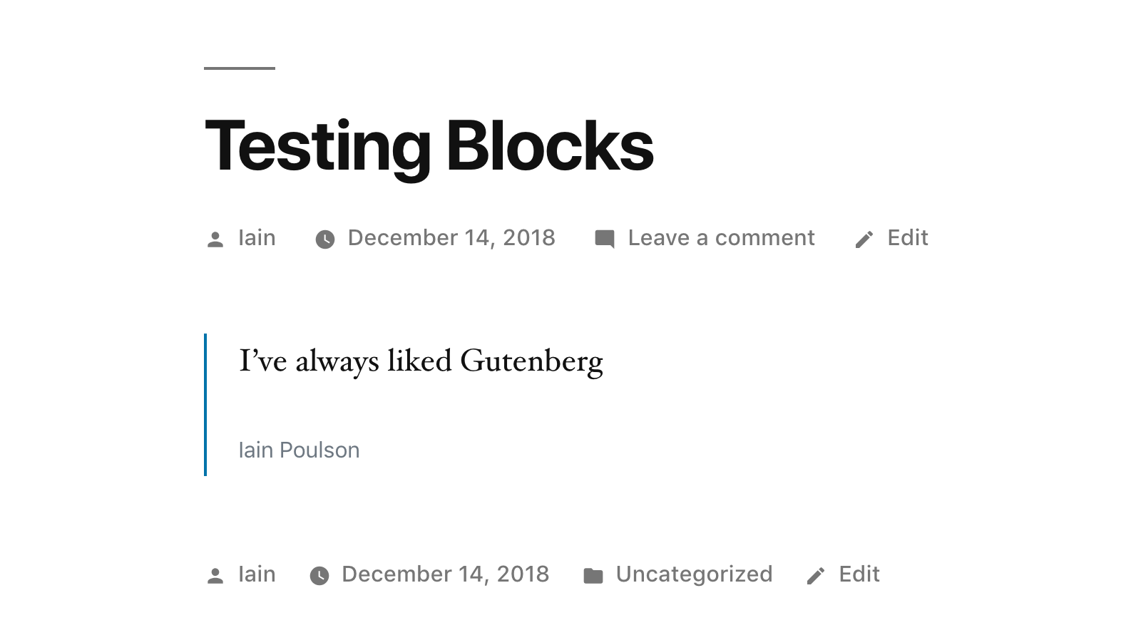 Quote block in front-end