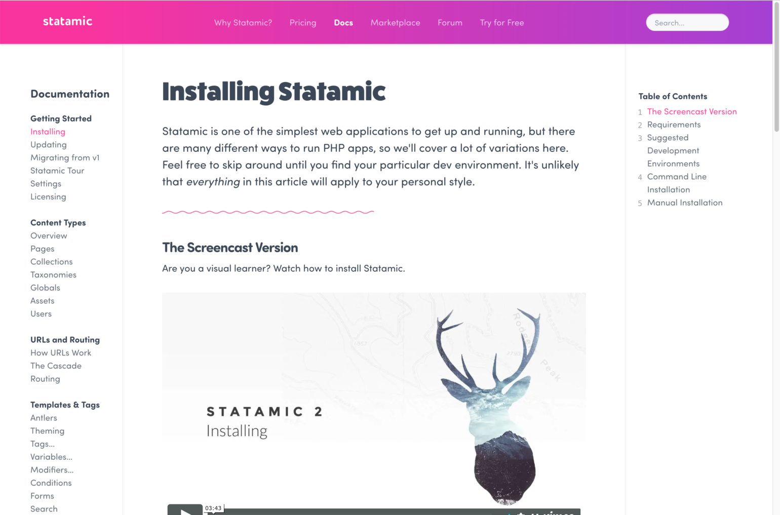 Statamic documentation