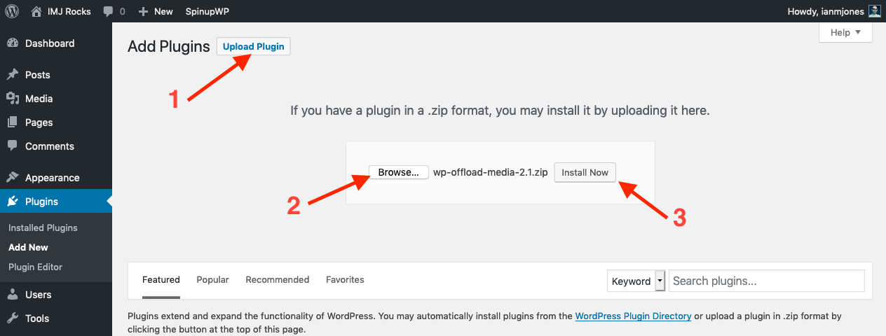 Upload and install new plugin