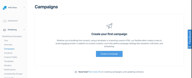 SendGrid campaign dashboard