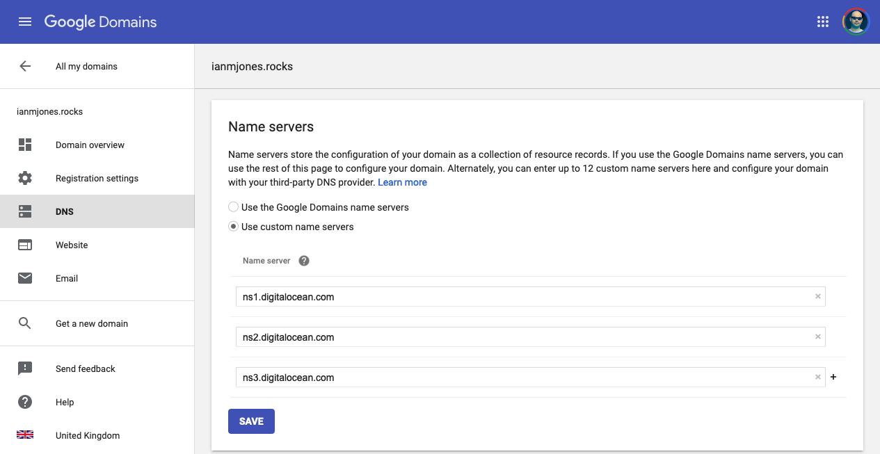 Set domain's nameservers to point to DigitalOcean