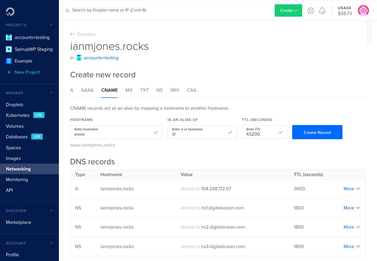Creating a CNAME DNS entry at DigitalOcean