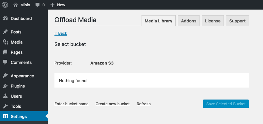 No buckets and no errors in WP Offload Media