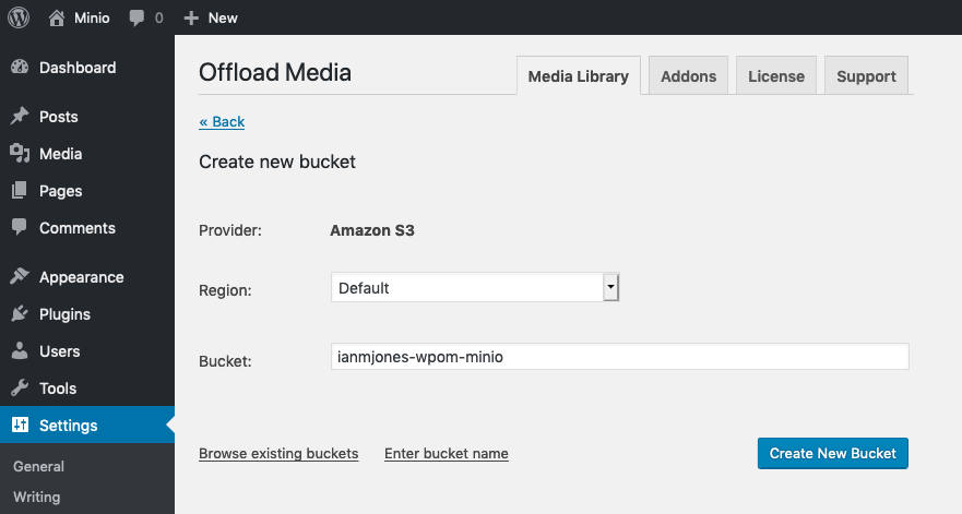 Create bucket for MinIO in WP Offload Media