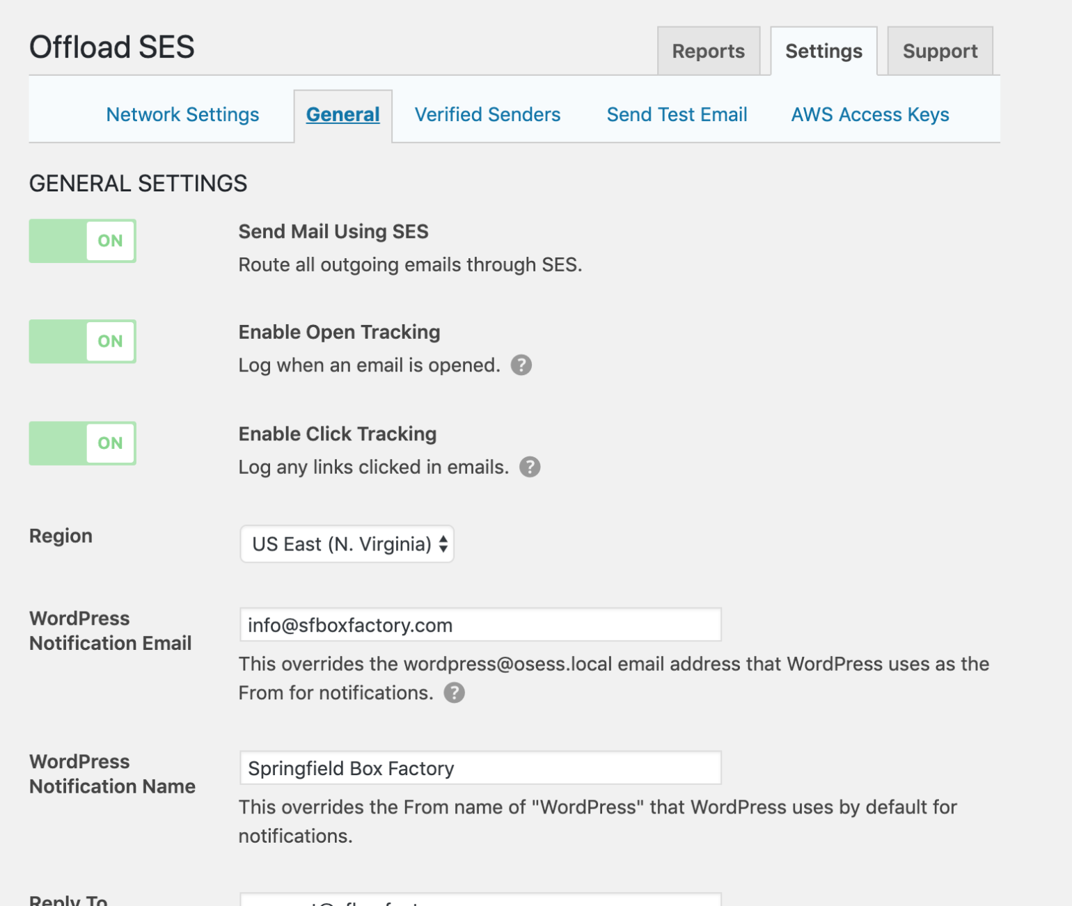 General settings for Multisite Subsite