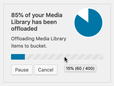 WP Offload Media background offload in progress