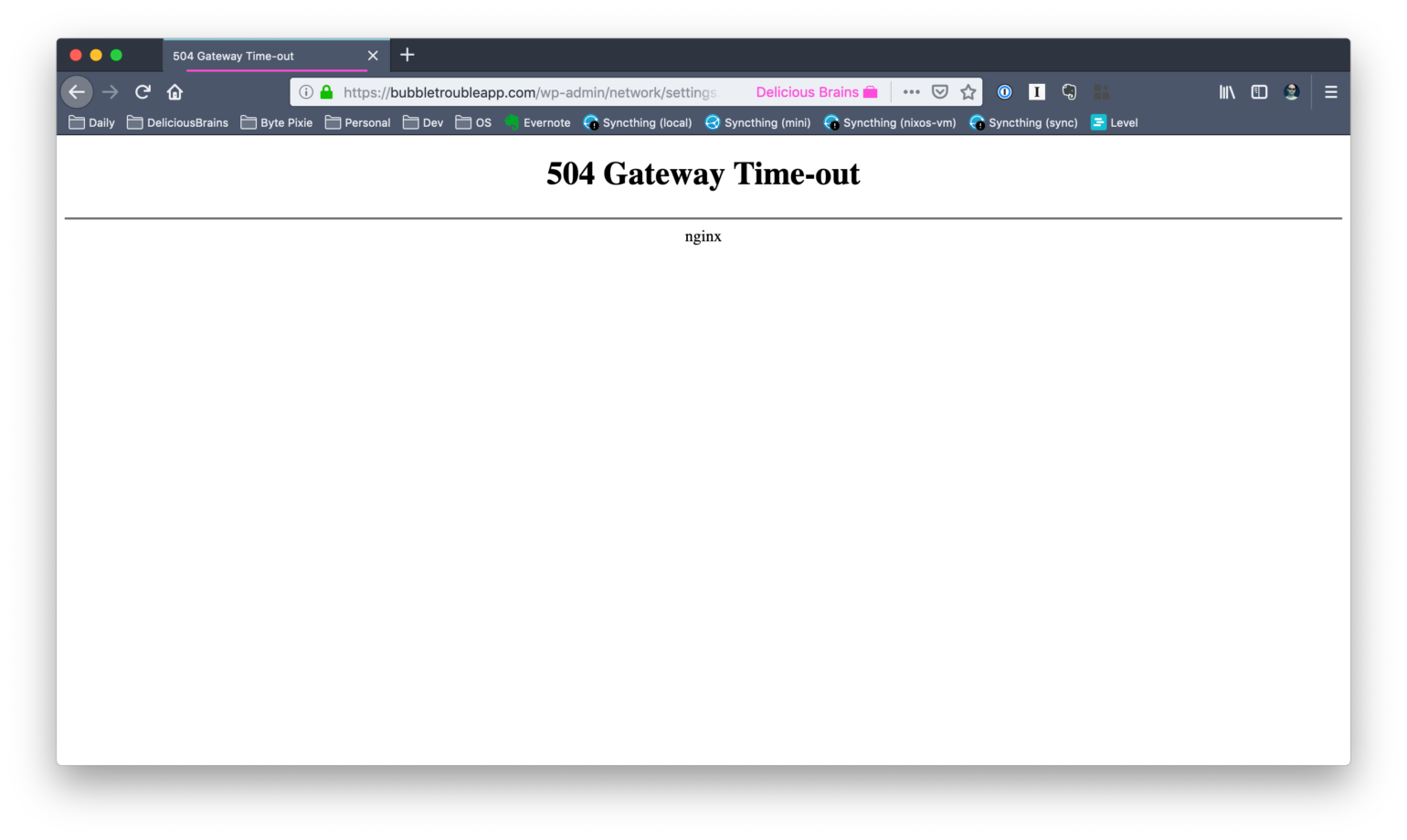 504 Gateway Timeout on large multisite settings page