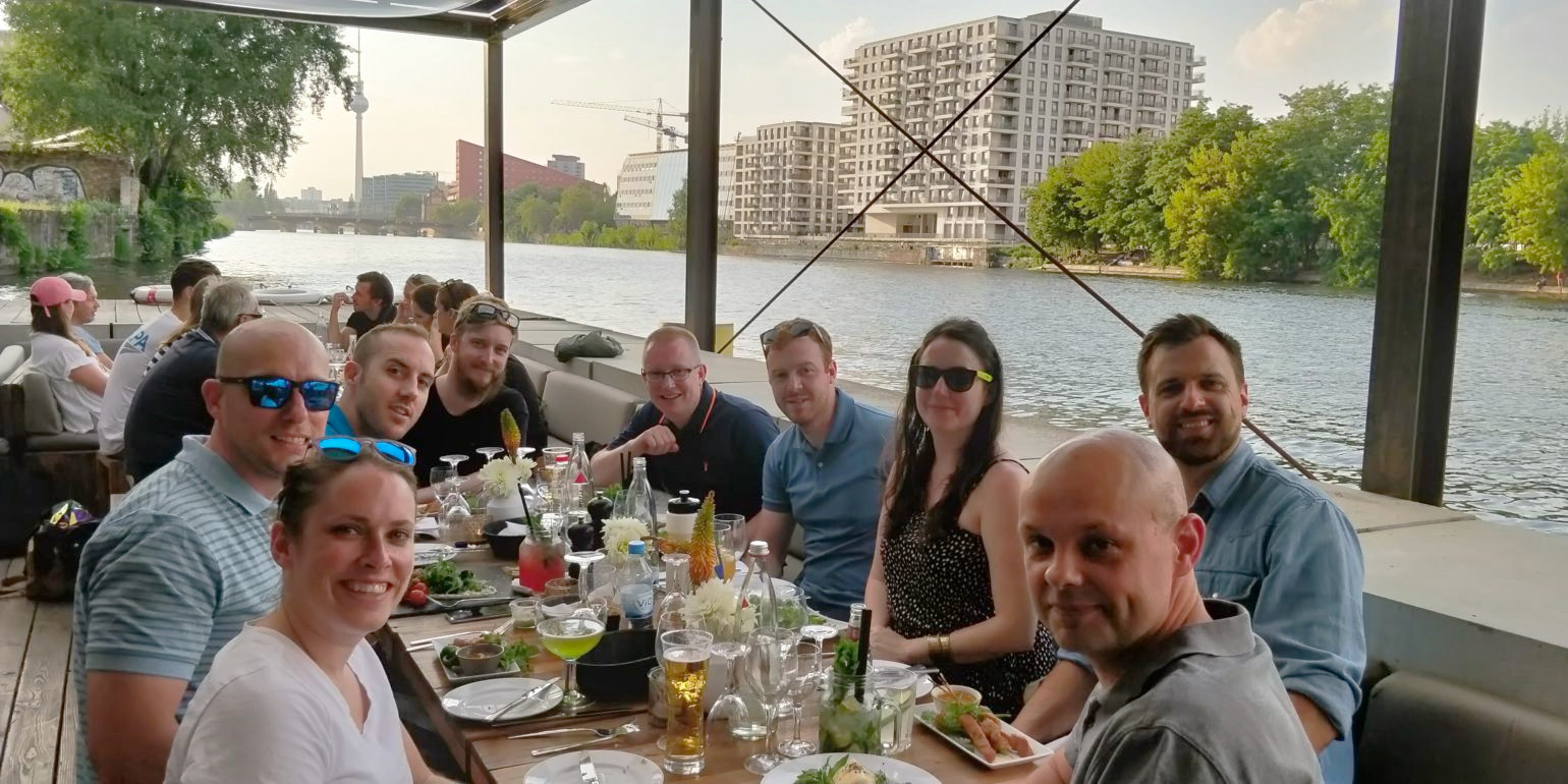 Delicious Brains team at dinner