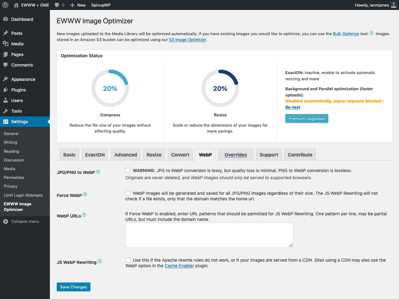 EWWW + OME WebP Settings 01 - Before