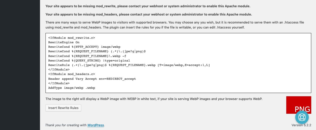 EWWW + OME WebP Settings 02 - Rewrite Warning