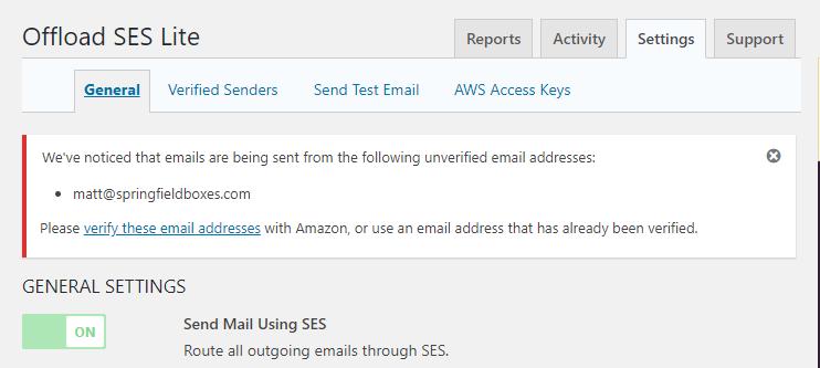 WP Offload SES - unverified sender notice