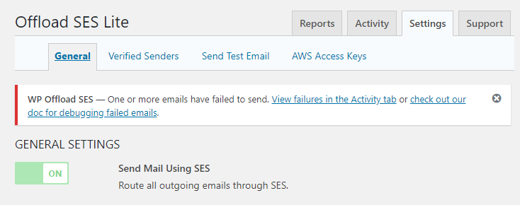 WP Offload SES - failed email notice