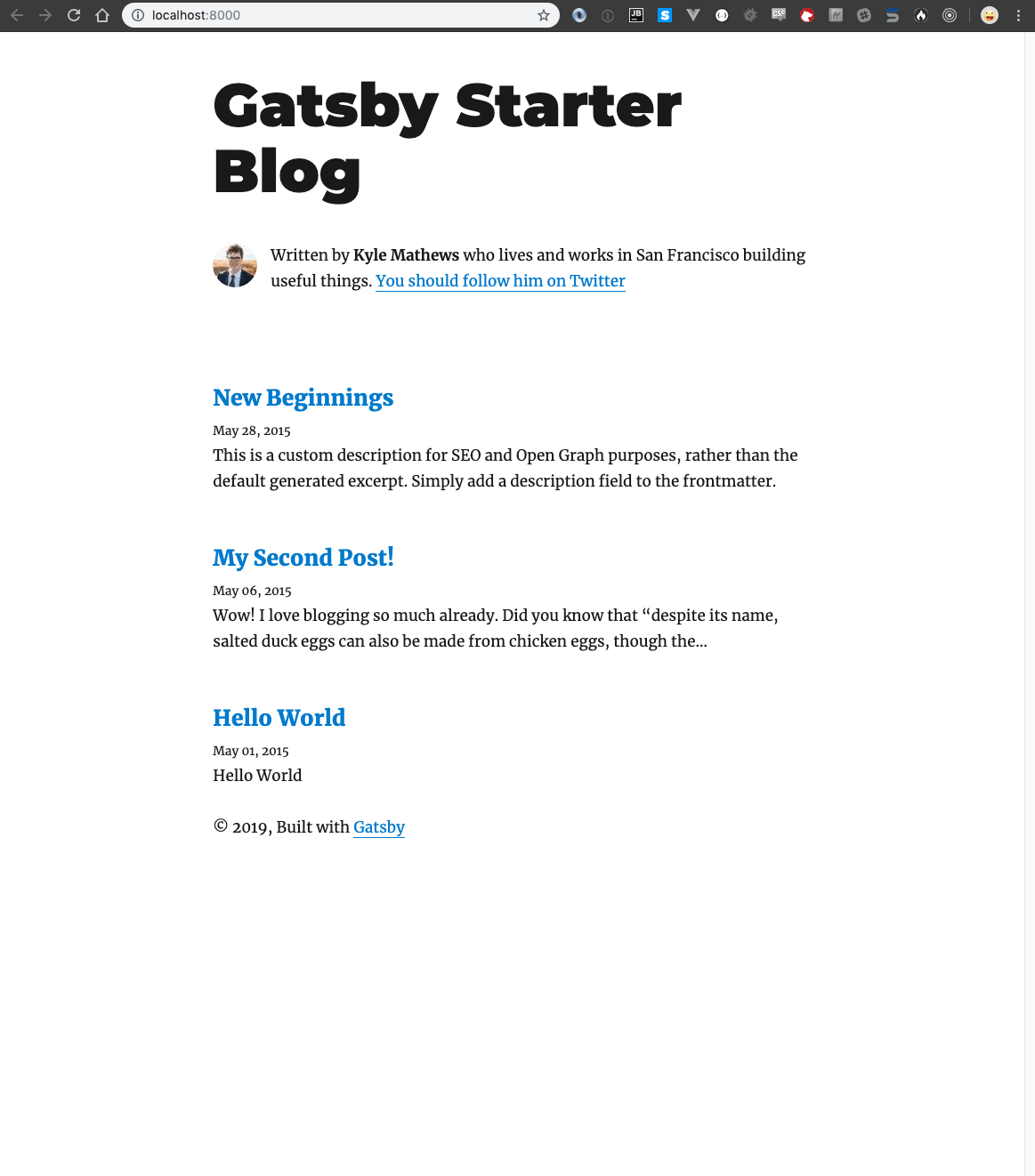 Gatsby starter site screenshot