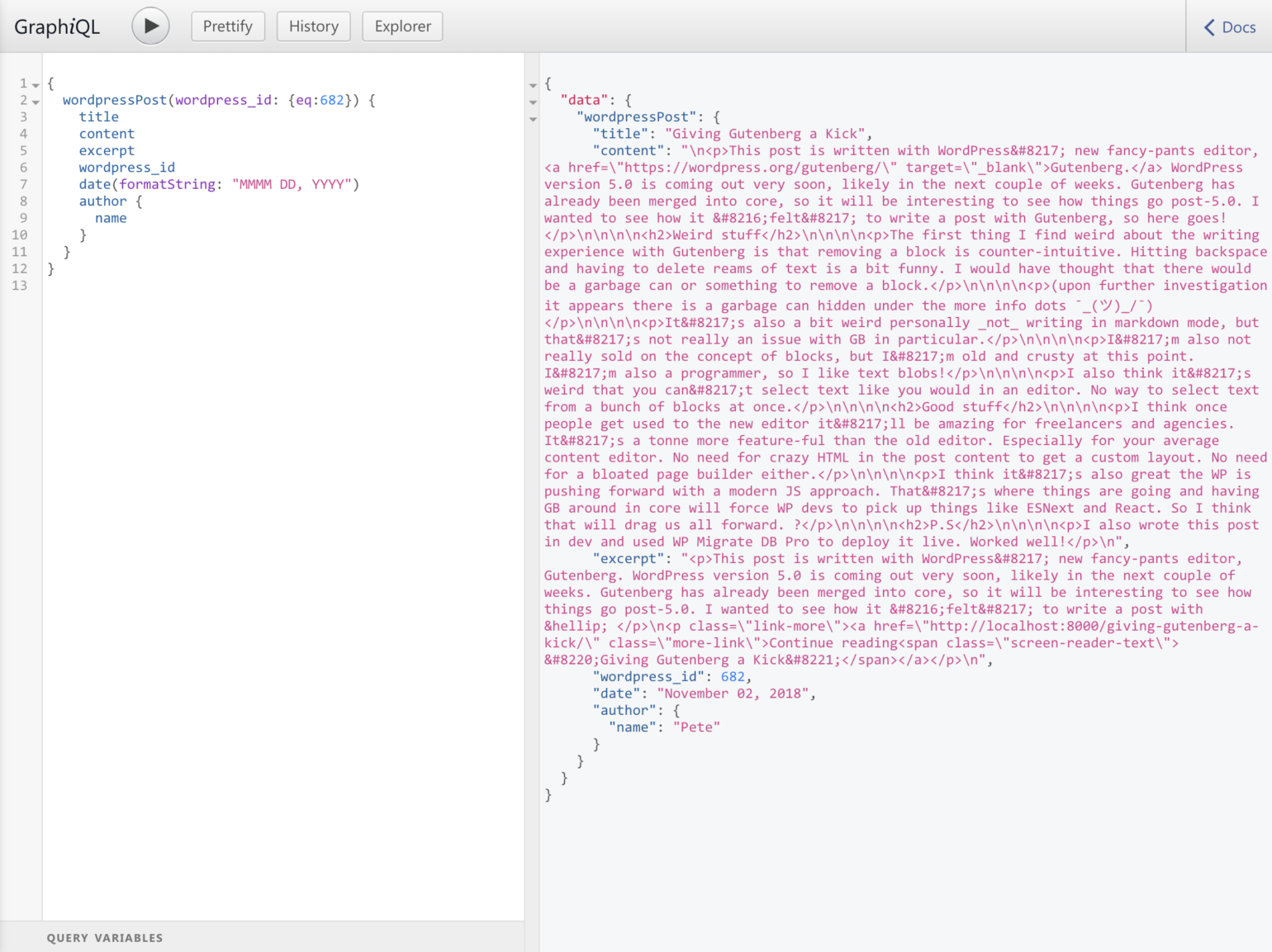 GraphiQL screenshot JSON