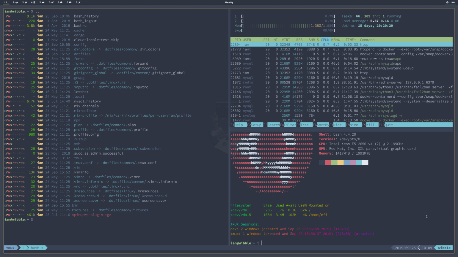 remote tmux with three panes