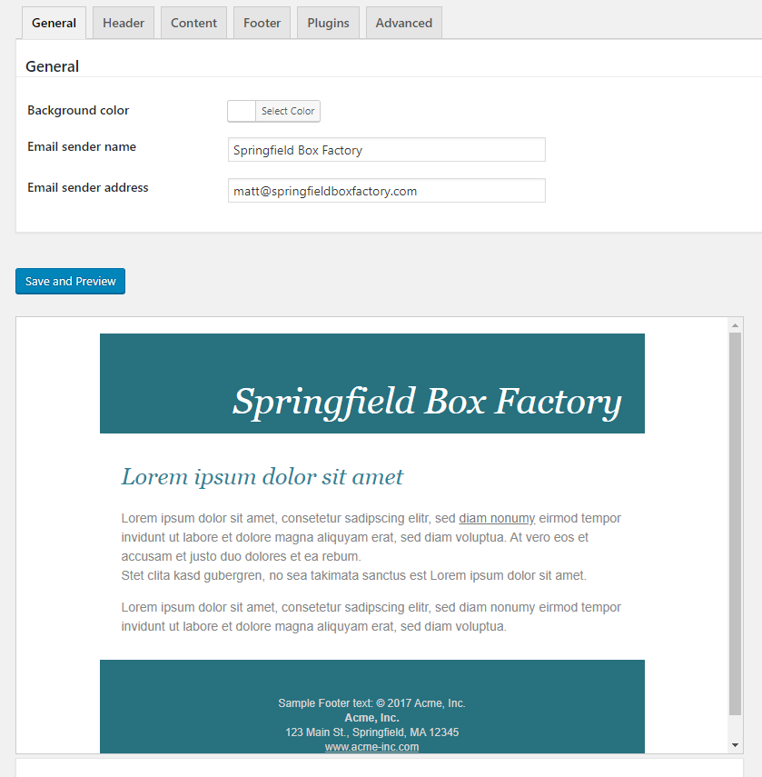 Screenshot of the WP HTML Email template page