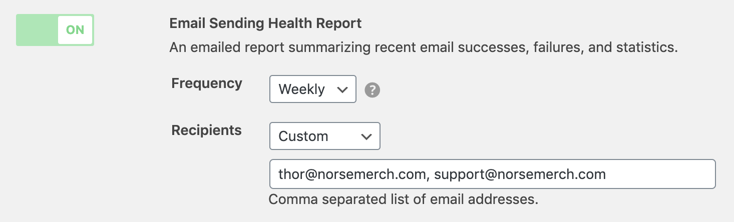 Custom recipients for health report