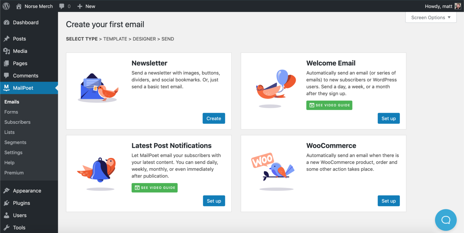 MailPoet plugin dashboard