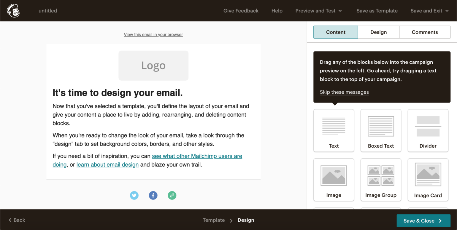 MailChimp email editor