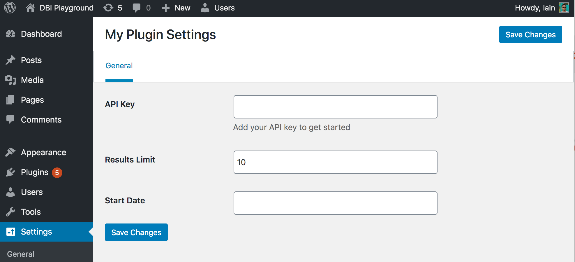 Screenshot of a VueJS powered settings page using wp-optionskit