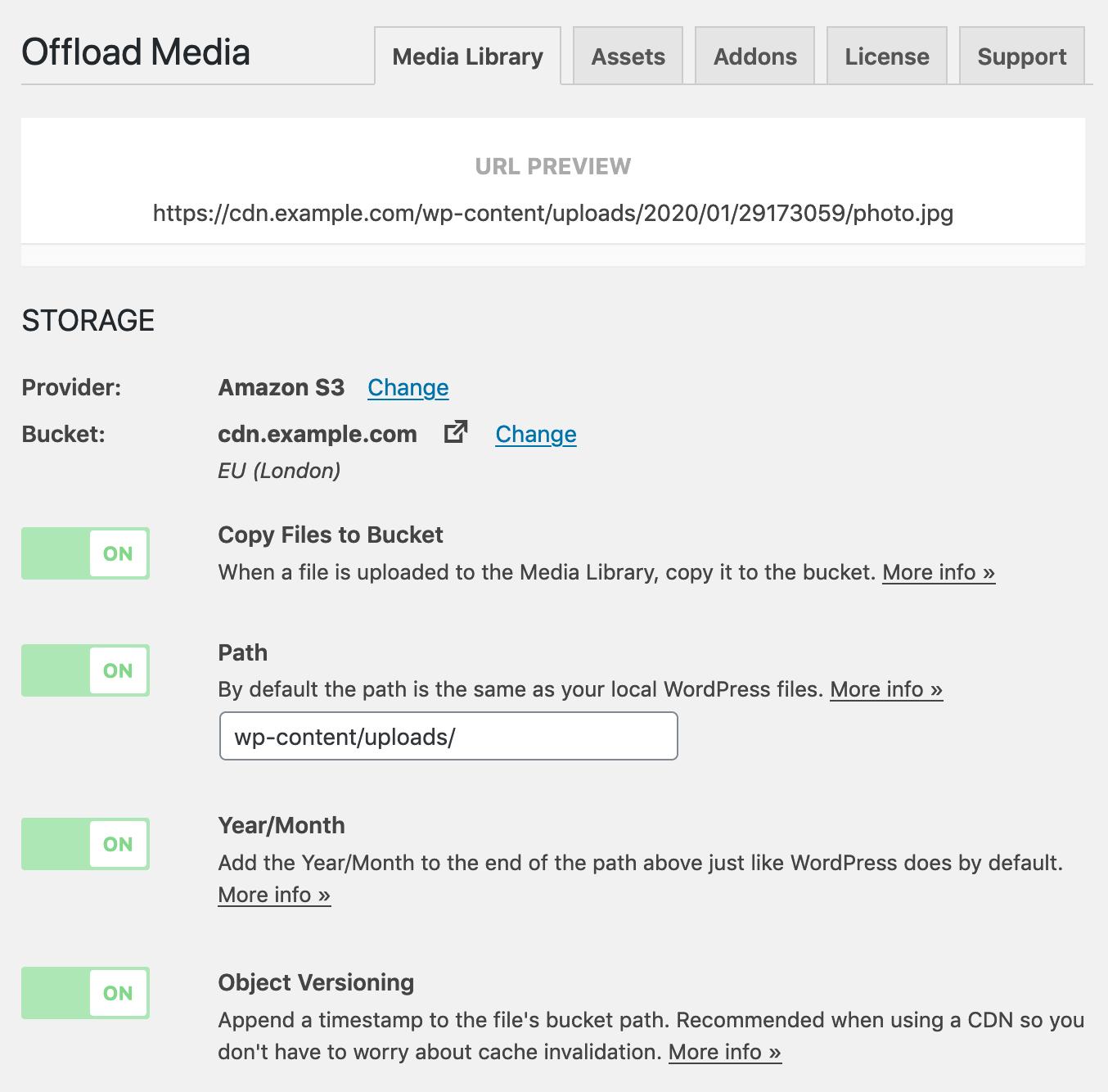Offload Media Storage Settings