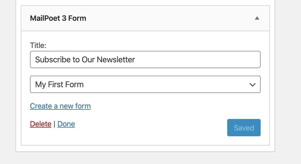 MailPoet email subscription widget