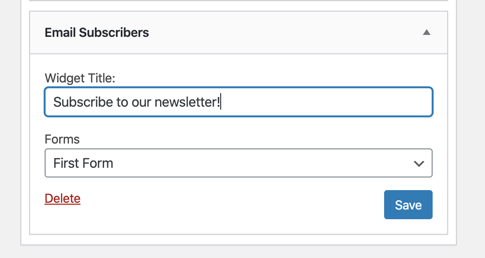 Email Subscribers & Newsletters email subscription widget