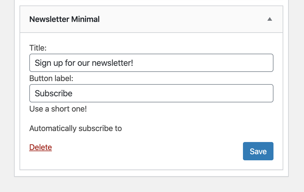 The Newsletter Plugin email subscription widget