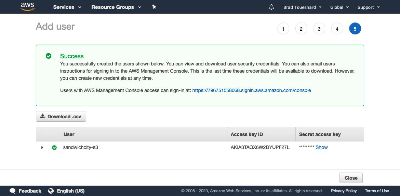 IAM Management Console - Add user - Download credentials