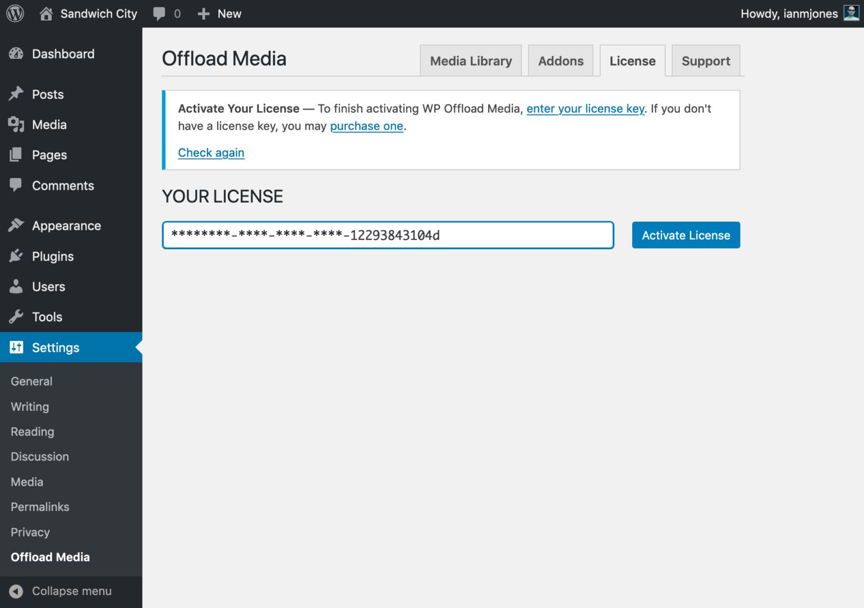 WP Offload Media Enter License
