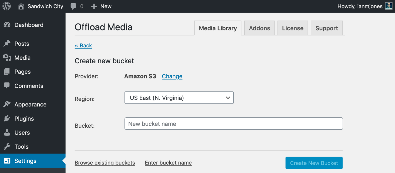 WP Offload Media Create Bucket - S3