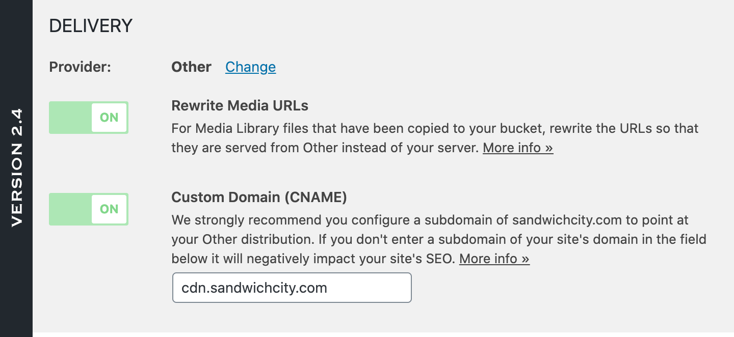 Version 2.4 of WP Offload Media showing the Provider and ability to change it