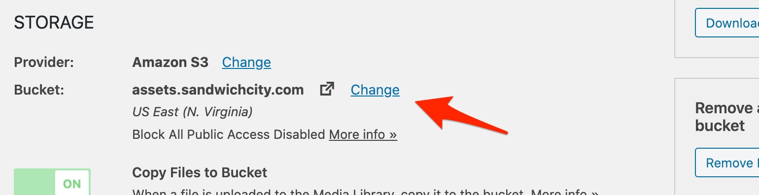 WP Offload Media settings screen showing a change link next to the Bucket settings