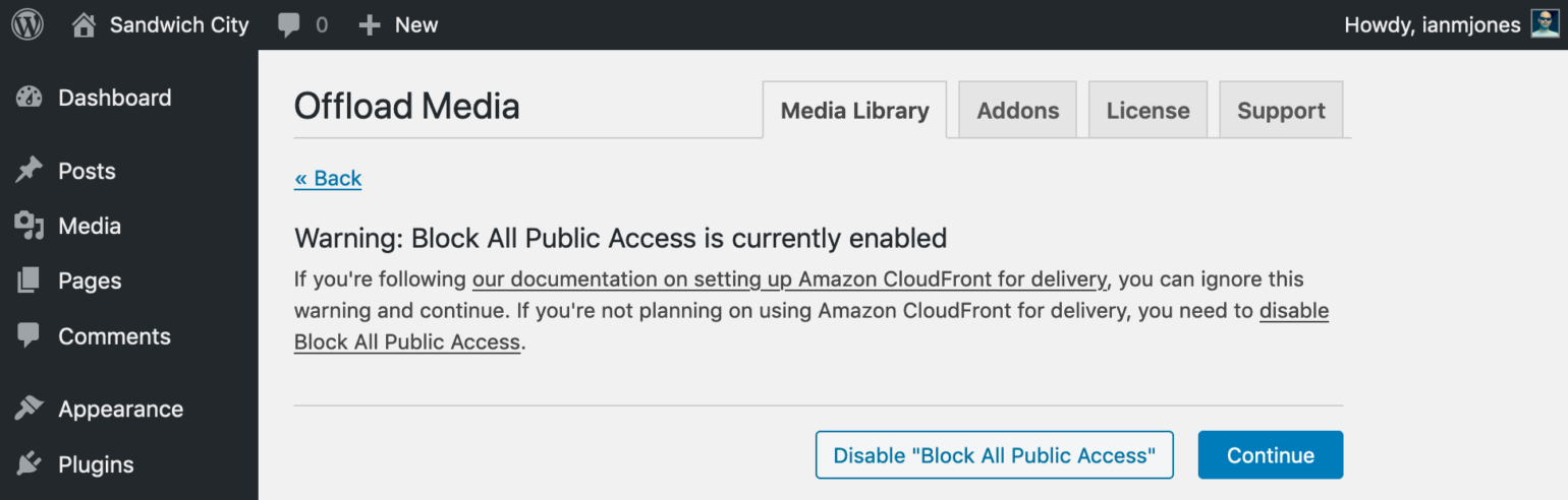 WP Offload Media Block All Public Access Enabled Warning
