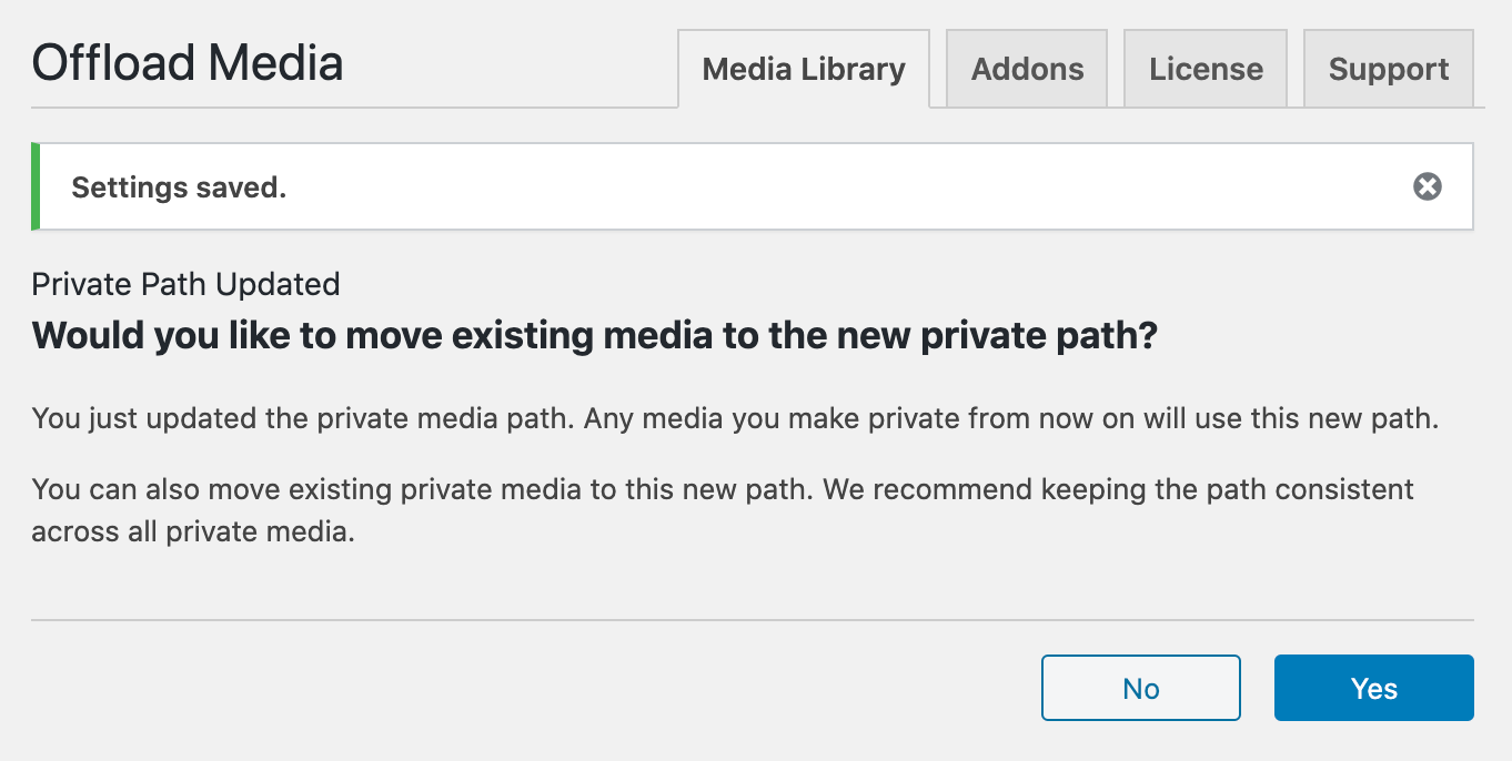 prompt displayed within the Media Library settings