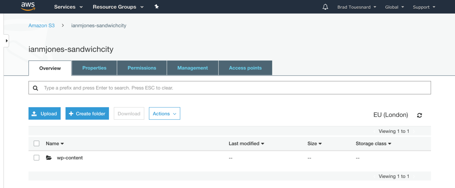 OME CloudFront Setup - Overview of S3 bucket in AWS Console