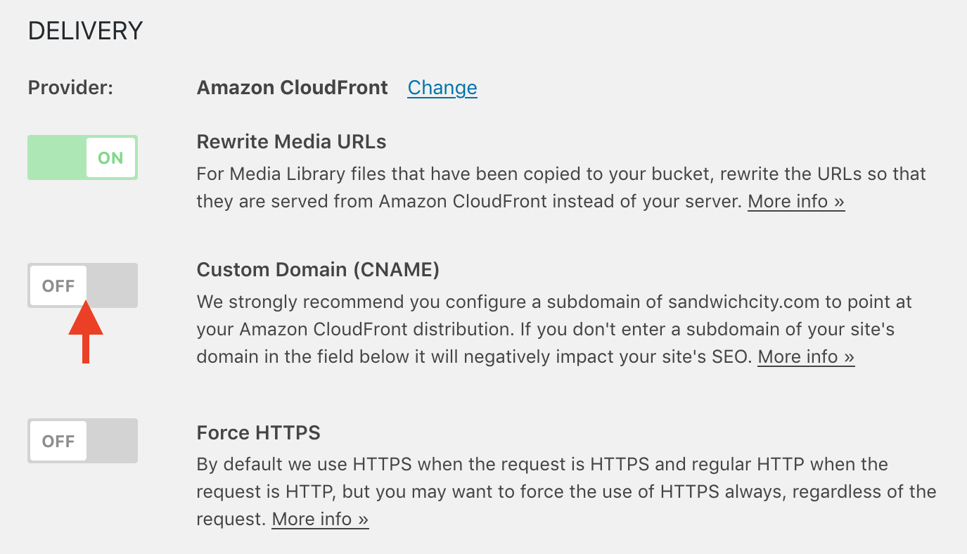 OME CloudFront Setup - WP Offload Media settings page showing Amazon CloudFront as delivery provider