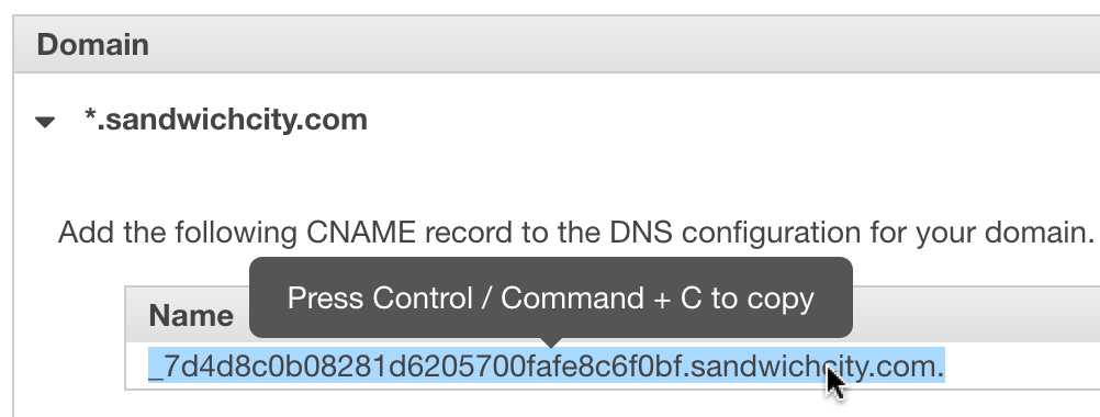 OME CloudFront Setup - Expanded Validation Certificate Manager page showing copy instructions on cursor hover