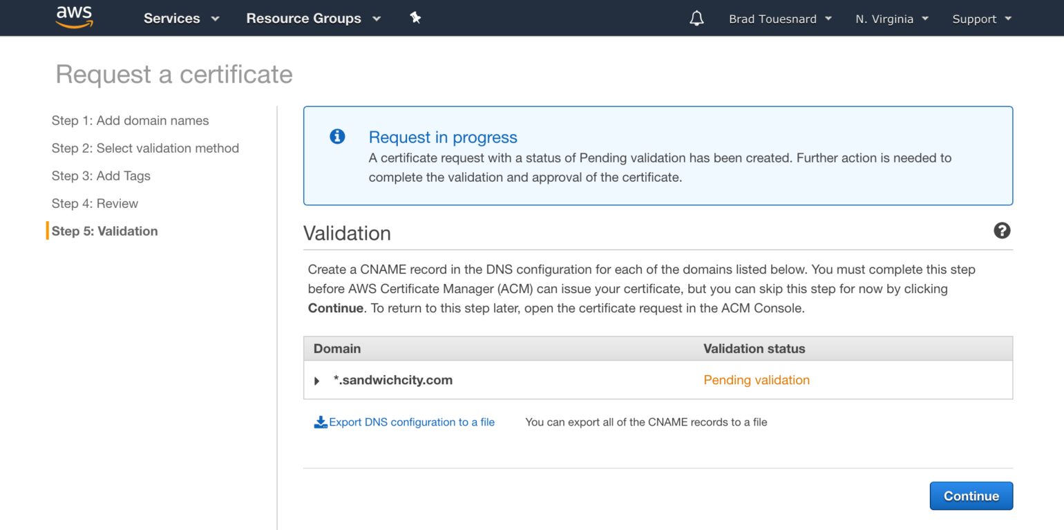 OME CloudFront Setup - Validation Certificate Manager page