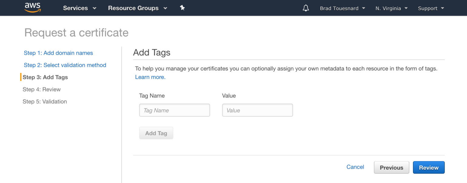 OME CloudFront Setup - Add Tags Certificate Manager page