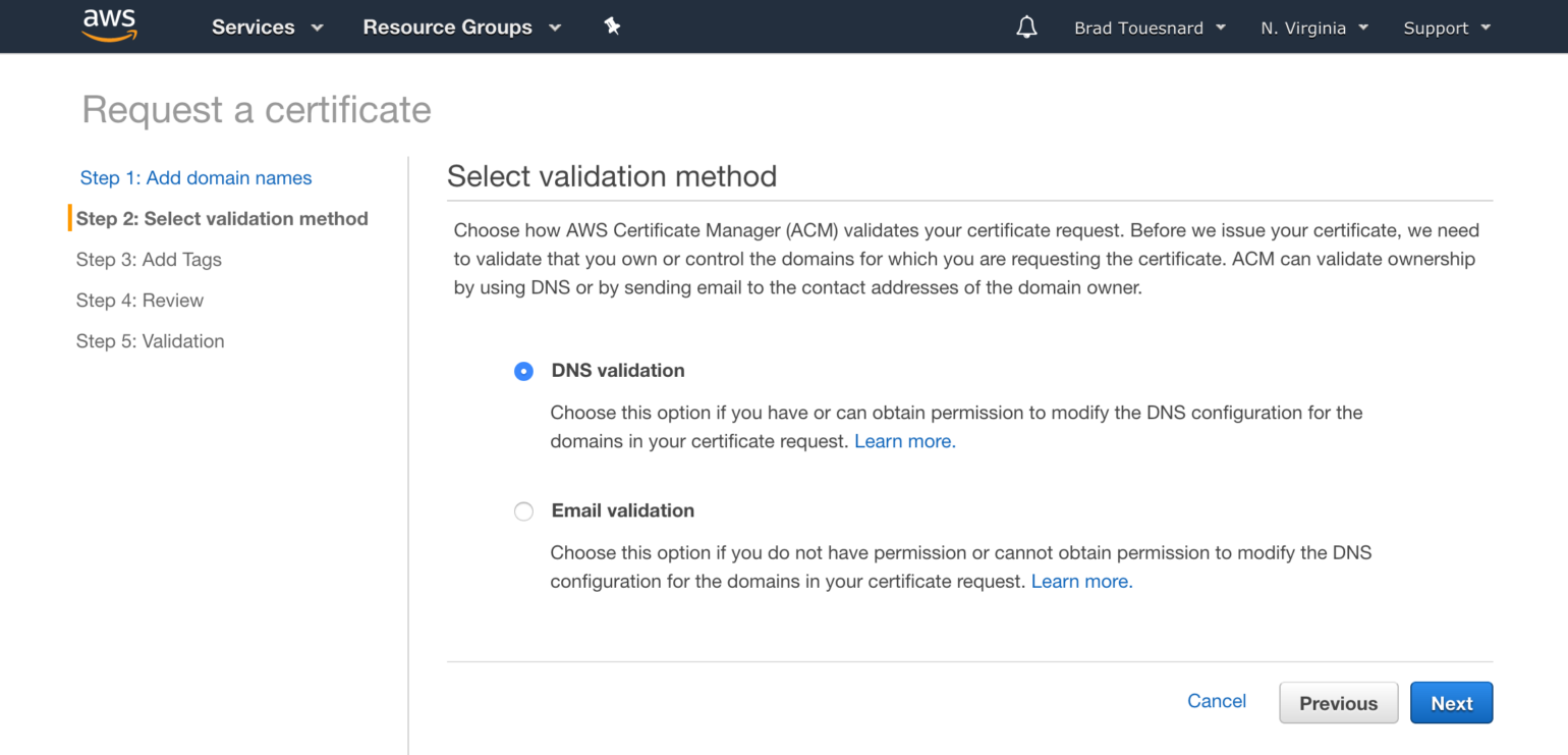 OME CloudFront Setup - Select validation method Certificate Manager page