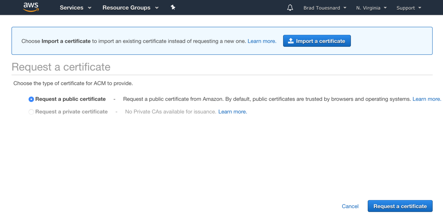 OME CloudFront Setup - Certificate Manager page giving choice of public or private certificate