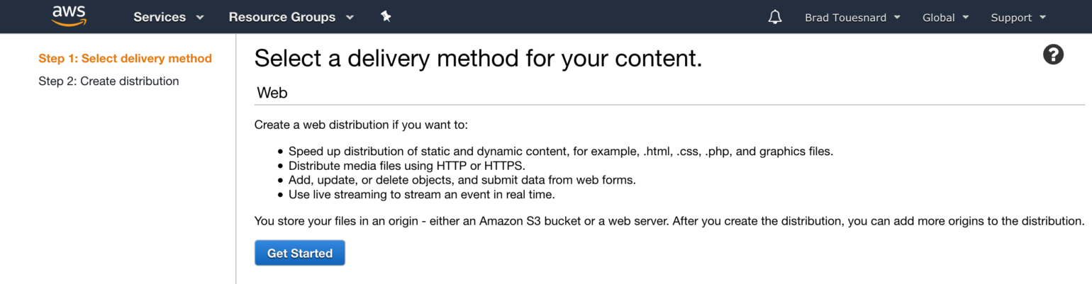 OME CloudFront Setup - Select delivery method page in AWS console