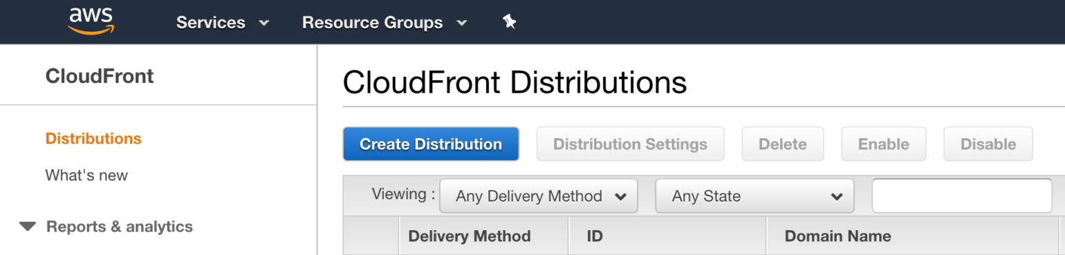 OME CloudFront Setup - CloudFront Distributions page in AWS Console