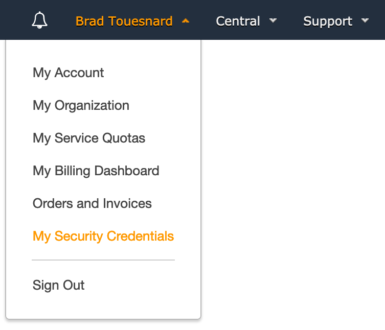 OME Signed CloudFront Setup - My Security Credentials menu option