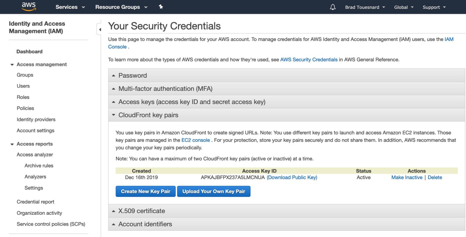 OME Signed CloudFront Setup - Your Security Credentials page showing existing CloudFront key pairs