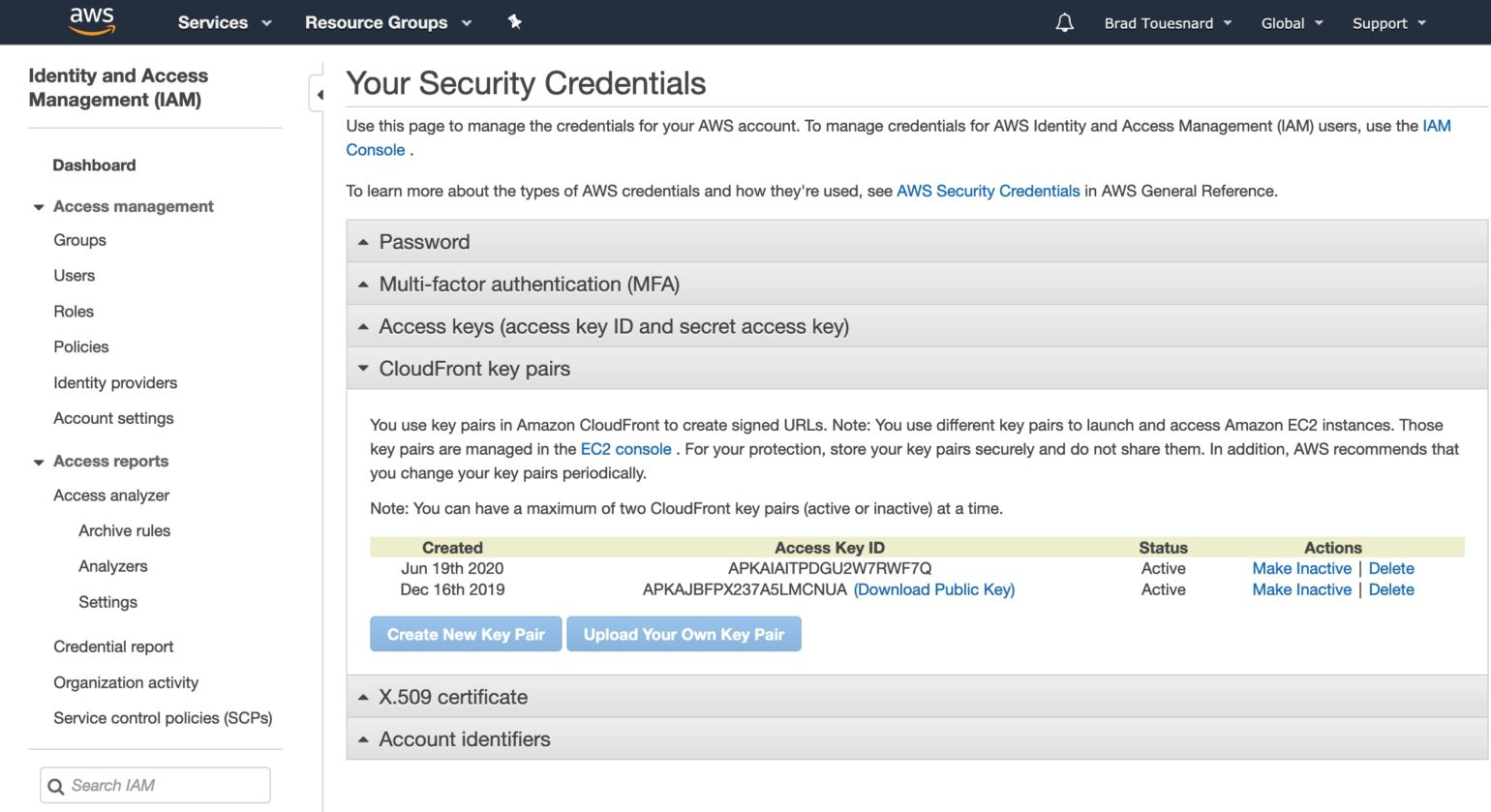 OME Signed CloudFront Setup - Your Security Credentials page showing new CloudFront key pair